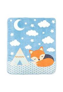 Cobertor Bebê Microfibra Azul Raposa (90X110Cm) - Baby Joy - Tamanho Único - Azul