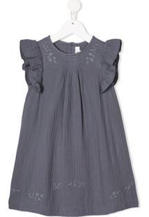 Bonpoint Vestido Com Bordado Floral E Detalhe De Pregas - Cinza