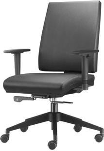Cadeira Simple Presidente Com Braco Em Courino Assento Crepe Cinza Escuro Base Nylon Piramidal - 54917 - Sun House