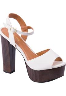 Sapato Fioratto Peep Toe Branco - Feminino