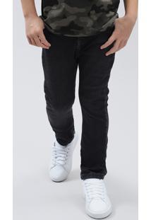 Calça Jeans Infantil Slim Em Moletom Preta