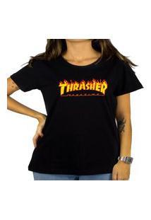 Camiseta Thrasher Feminina Flame Logo Preto Tamanho:Pp Incolor