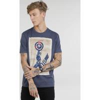 a1c529abf Camiseta Masculina Capitão América Manga Curta Gola Careca Azul