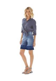 Bermuda Comfort Barra Desmanchada Jeans 38