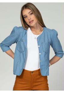 Jaqueta Com Franzido Nos Ombros Jeans Claro