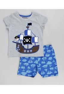 Pijama Infantil Pirata Manga Curta Cinza Mescla