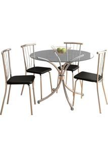 Conjunto De Mesa De Jantar Com 4 Cadeiras Chiphe E Brunelle Napa Preto