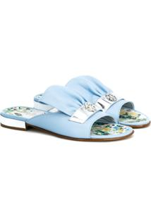 Roberto Cavalli Kids Sapato Mule De Couro - Azul