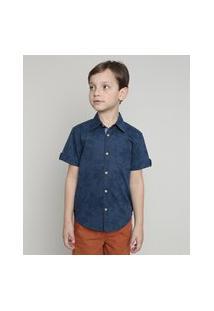 Camisa Infantil Estampada Floral Com Bolso Manga Curta Azul Marinho
