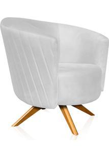 Poltrona Decorativa Angel Gomada Suede Branco Com Base Giratória Madeira - D'Rossi