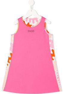 Emilio Pucci Junior Vestido De Algodão Com Logo - Rosa
