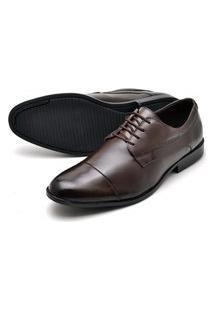 Sapato Social Couro Reta Oposta Comfort Marrom