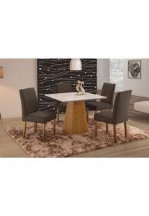 Conjunto De Mesa De Jantar Com 4 Cadeiras E Tampo De Madeira Maciça Turquia Ii Suede Grafite E Off White