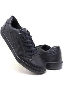Tenis Casual Masculino Em Couro Super Boots - Preto - Masculino-Preto