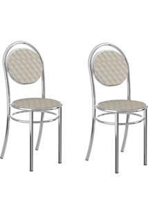 Conjunto 2 Cadeiras Tubo Cromado Tecido Estampado Carraro