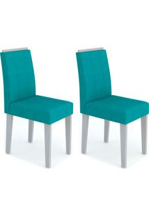Conjunto Com 2 Cadeiras Amanda Off White E Turquesa