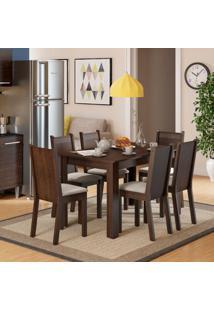 Conjunto De Mesa De Jantar Com 6 Cadeiras Maris Linho Tabaco E Pérola