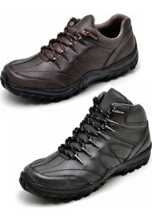 Bota Kit 2 Pares Adventure Dexshoes Café/Preto