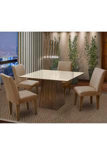Conjunto De Mesa Com 4 Cadeiras Florença – Dobue. - Castanho / Bege / Mascavo