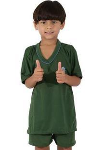 Pijama De Malha Infantil Linha Noite Curto Masculino - Masculino-Verde Escuro