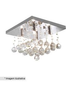 Plafon Quadrado Com Pingentes - Cristal - 24X34X34Cmhevvy