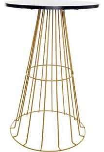 Mesa Cã´Nica Aramada- Preta & Dourada- 74Xã˜49Cm- Metaltru