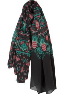 Lenço Fashion Floral - Preto