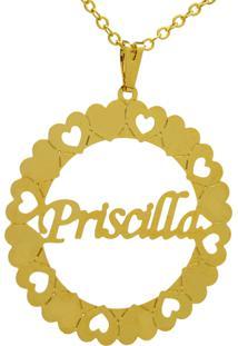 Gargantilha Horus Import Pingente Manuscrito Priscilla Banho Ouro Amarelo - Kanui