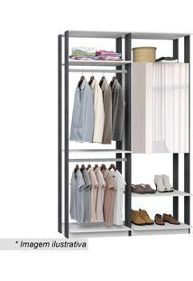 Guarda Roupa Clothes Com Espelho- Branco & Espresso-Bentec