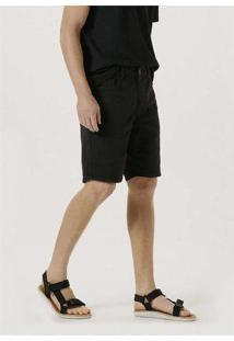 Bermuda Masculina Em Sarja Com Elastano Preto