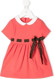 Fendi Kids Vestido Com Amarração Na Cintura - Rosa