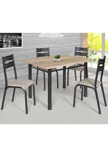 Conjunto De Mesa Com 4 Cadeiras - Luna - Ciplafe - Junco Manteiga