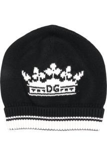 Dolce & Gabbana Gorro De Cashmere Com Logo - Preto