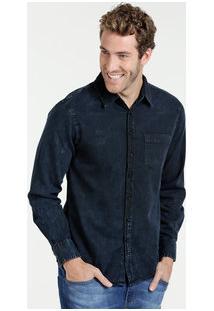 5601a67078 Camisa Masculina Jeans Marmorizado Manga Longa Marisa