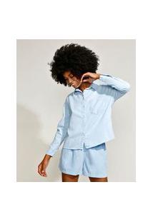 Camisa Feminina Mindset Pijama Com Bolso Manga Longa Azul Claro