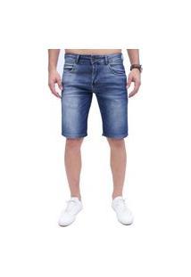 Bermuda Rock&Soda Jeans Masculina Lisa Zíper Bolso Casual - Azul - 38 Azul