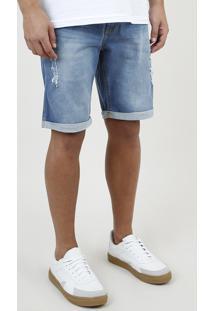Bermuda Jeans Masculina Slim Destroyed Com Barra Dobrada Azul Médio