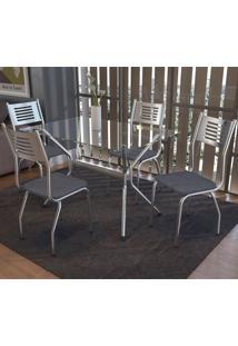 Conjunto De Mesa E 4 Cadeiras Cmc413Cr-17 - Kappesberg - Cromado / Preto Linho Cinza
