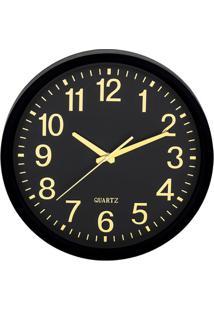 Relógio De Parede- Preto & Amarelo- Ø35Cm- Martmart