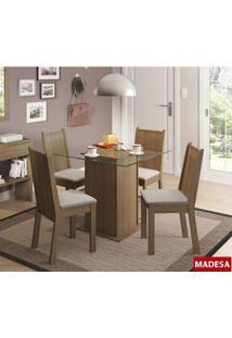 Sala De Jantar Madesa Lucy Base De Madeira Com Tampo De Vidro E 4 Cadeiras - Rustic/ Pérola