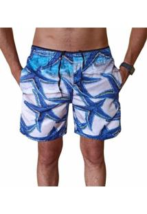 Bermuda Short Moda Praia Relaxado Estampa Estrela Do Mar Azul - Azul - Masculino - Poliã©Ster - Dafiti