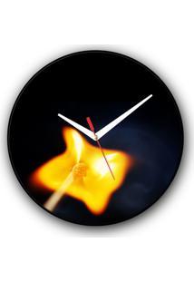 Relógio De Parede Colours Creative Photo Decor Decorativo, Criativo E Diferente - Palito De Fósforo Aceso Visto De Cima