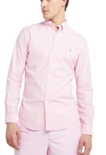 Camisa Ralph Lauren Masculina Custom Fit Classic Rosa