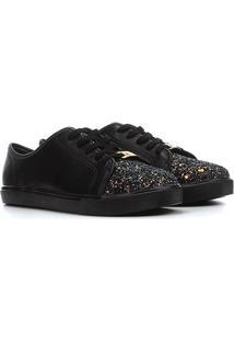 Sapato Infantil Molekinha Glitter Feminino - Feminino-Preto