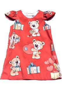 Vestido Petit Glam Urso Vermelho