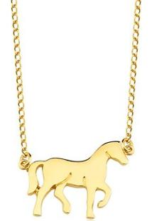 Colar Toque De Joia Cavalo Liso - Feminino-Dourado