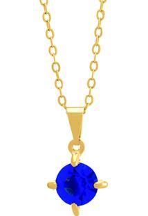 Gargantilha Horus Import Ponto Luz Azul Zafira Banhada Ouro Amarelo 18 K - 1061103