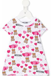 Moschino Kids Vestido Com Estampa Do Logo E Corações - Branco