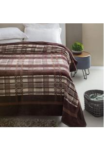 Cobertor Casal Kyor Plus Arezo 1 Peça Microfibra Jolitex Marrom