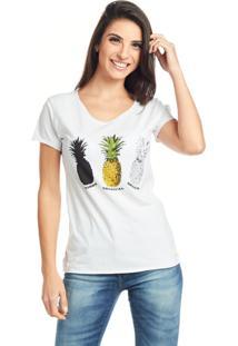 Camiseta Bossa Brasil Abacaxi Branca - Branco - Feminino - Algodã£O - Dafiti